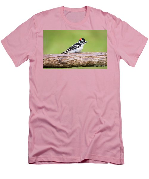 Men's T-Shirt (Athletic Fit) featuring the photograph Wet Downy Woodpecker  by Ricky L Jones