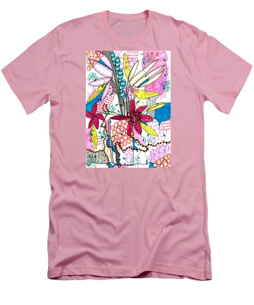 Men's T-Shirt (Slim Fit) featuring the mixed media Where Did You Put My Cup? by Lisa Noneman