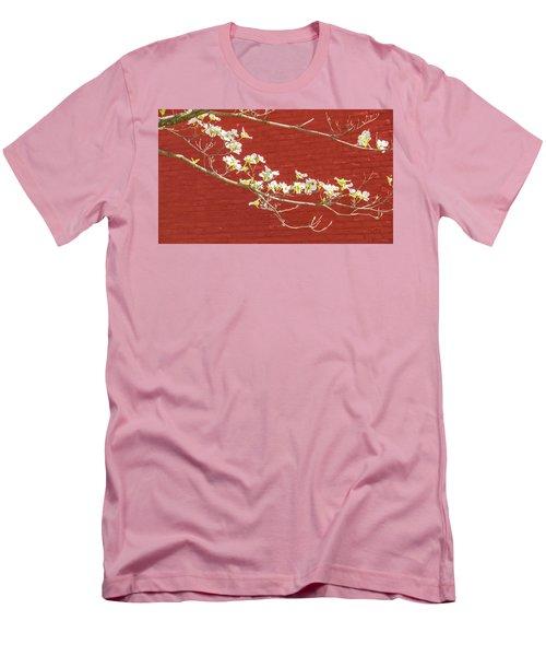 White Dogwood Brick Wall Men's T-Shirt (Slim Fit) by Tom Singleton