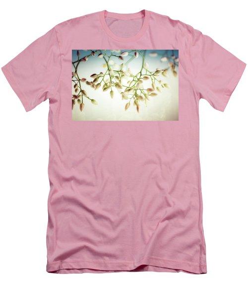White Flowers Men's T-Shirt (Slim Fit) by Bobby Villapando