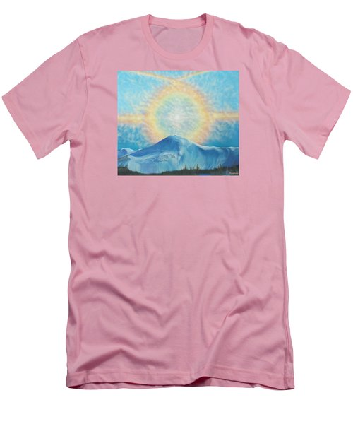 Who Makes The Clouds His Chariot Fire Rainbow Over Alberta Peak Men's T-Shirt (Slim Fit) by Anastasia Savage Ealy