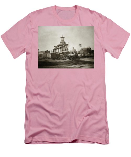 Wilkes Barre Pa. New Jersey Central Train Station Early 1900's Men's T-Shirt (Athletic Fit)