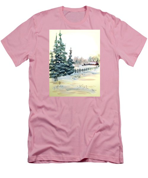 Winter Comes At The Farm  Men's T-Shirt (Slim Fit) by Dorothy Maier