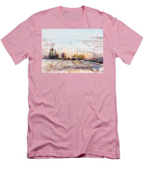 Winter Sunrise On The Lane Men's T-Shirt (Slim Fit) by Judith Levins