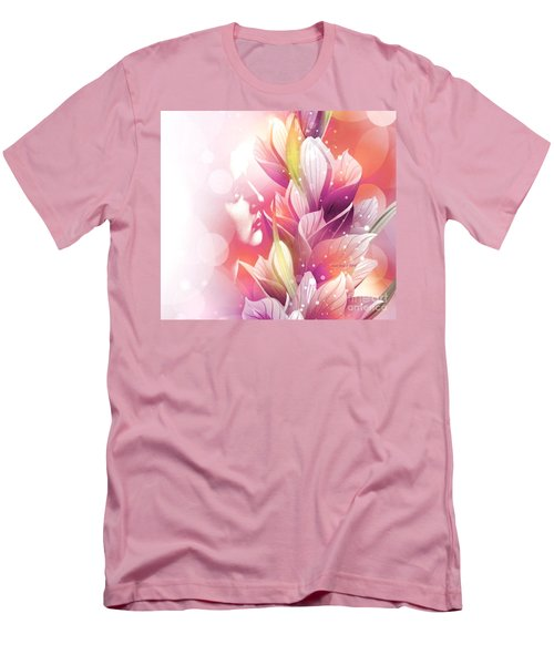 Woman And Flowers Men's T-Shirt (Slim Fit)
