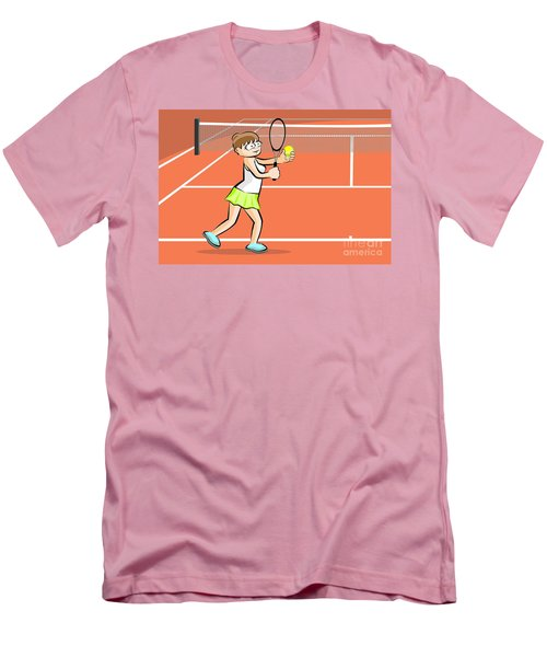 Woman Playing Tennis Ready To Do A Serve Men's T-Shirt (Athletic Fit)