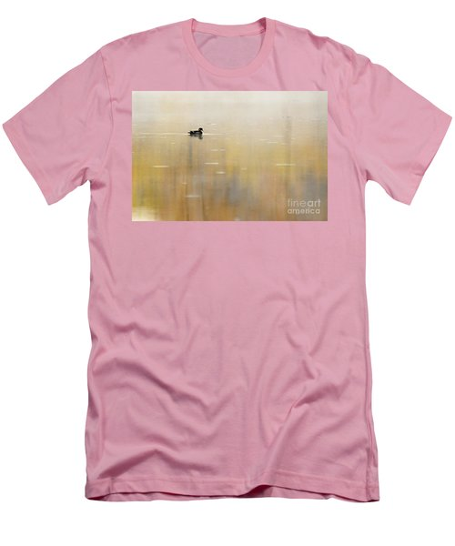 Men's T-Shirt (Slim Fit) featuring the photograph Wood Duck On Golden Pond by Larry Ricker
