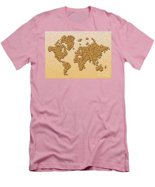 World Map Rolamento In Yellow And Brown Men's T-Shirt (Athletic Fit)