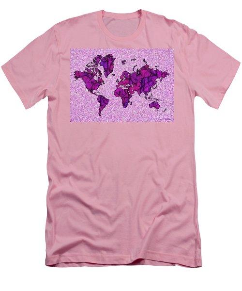 World Map Takkede In Purple Men's T-Shirt (Athletic Fit)