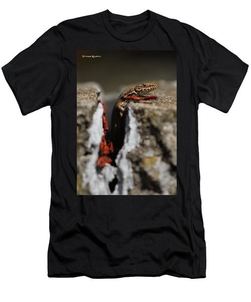 Men's T-Shirt (Athletic Fit) featuring the photograph  A Lizard Emerging From Its Hole by Stwayne Keubrick
