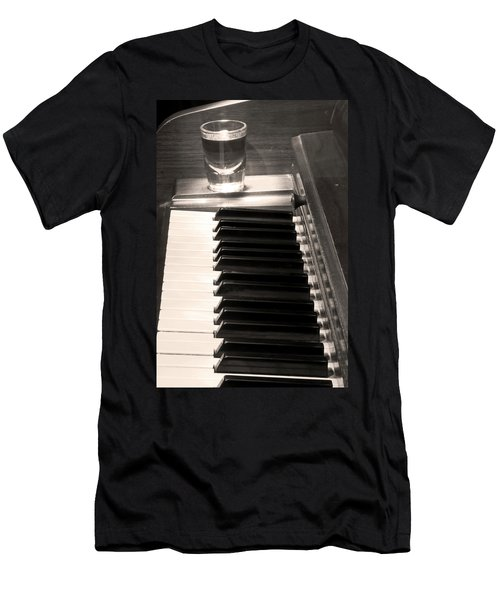 A Shot Of Bourbon Whiskey And The Bw Piano Ivory Keys In Sepia Men's T-Shirt (Athletic Fit)