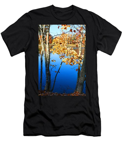 Autumn Trees On The Lake Men's T-Shirt (Slim Fit) by Lesa Fine