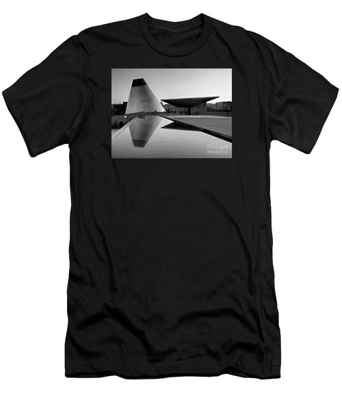 Men's T-Shirt (Slim Fit) featuring the photograph  Black And White Mog Reflections  by Chris Anderson