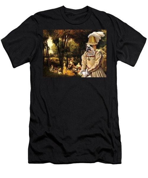 English Bulldog Art Canvas Print - The Galant Ladies Talks Men's T-Shirt (Athletic Fit)