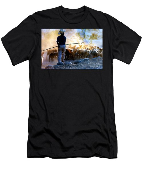 Herder Going Home In Mexico Men's T-Shirt (Slim Fit) by Phyllis Kaltenbach