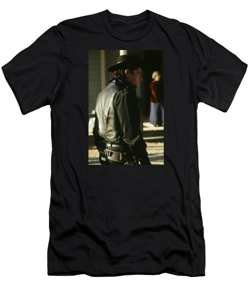 Men's T-Shirt (Slim Fit) featuring the photograph  Johnny Cash About To Draw On Kirk Douglas Old Tucson Arizona 1971 by David Lee Guss