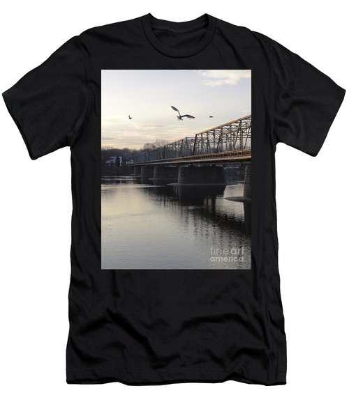 Gulls At The Bridge In January Men's T-Shirt (Athletic Fit)