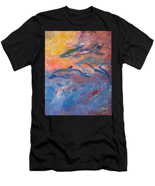 Soaring Dolphins Men's T-Shirt (Athletic Fit)