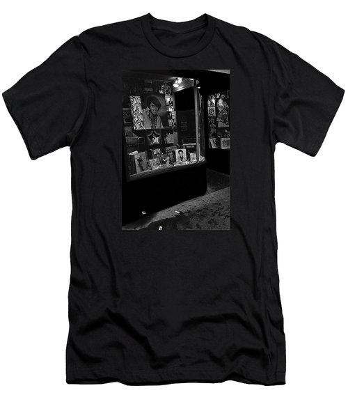 Men's T-Shirt (Slim Fit) featuring the photograph  Window Display Night Of Elvis Presley's Death Recordland Portland Maine  1977 by David Lee Guss