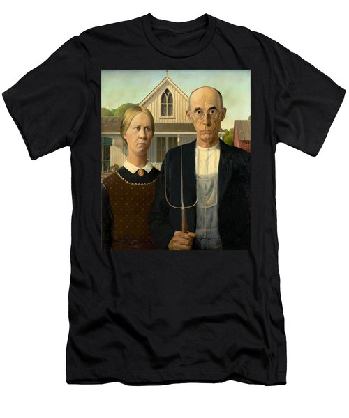 American Gothic Men's T-Shirt (Slim Fit) by Grant Wood