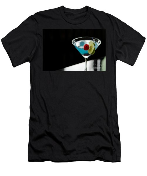 Blue Cocktail Drink With Cherry And Lime Men's T-Shirt (Athletic Fit)