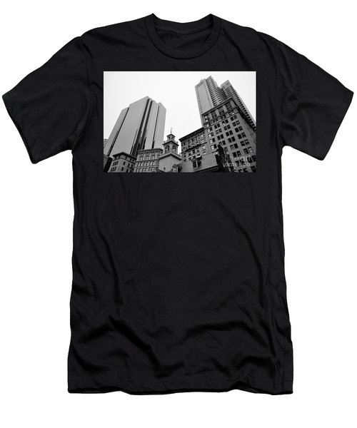 Boston Cityscape Black And White Men's T-Shirt (Athletic Fit)