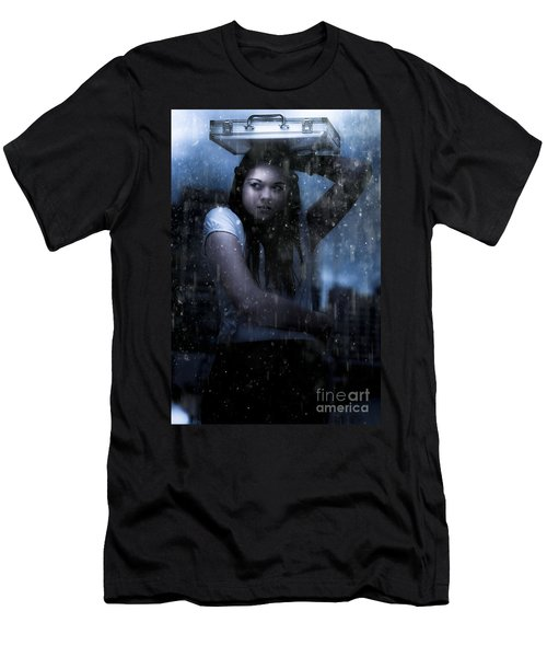 Business Woman Caught In Rain And Bad Weather Men's T-Shirt (Athletic Fit)
