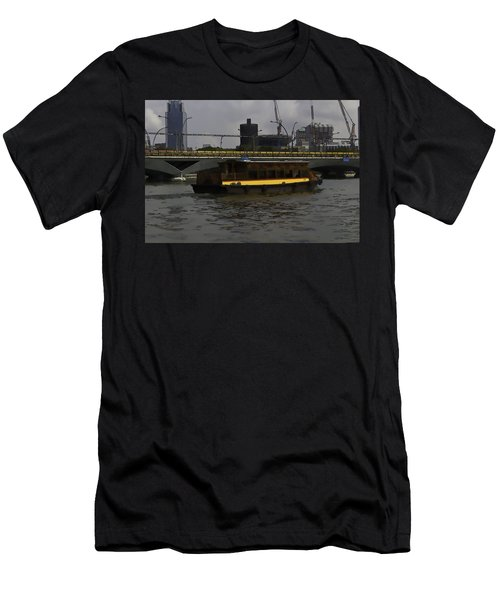 Cartoon - Colorful River Cruise Boat In Singapore Men's T-Shirt (Athletic Fit)