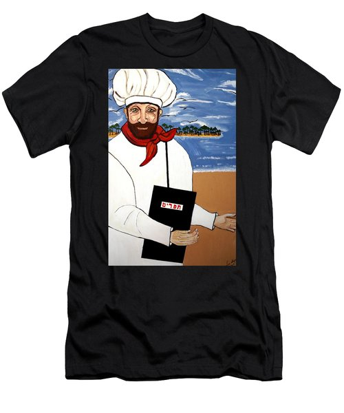 Men's T-Shirt (Slim Fit) featuring the painting Chef From Israel by Nora Shepley