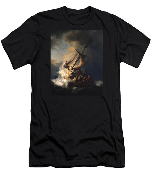 Christ In The Storm On The Sea Of Galilee Men's T-Shirt (Slim Fit) by Rembrandt Van Rijn