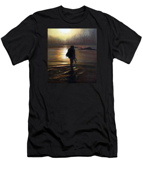 Men's T-Shirt (Slim Fit) featuring the painting Crossing The River by Vesna Martinjak