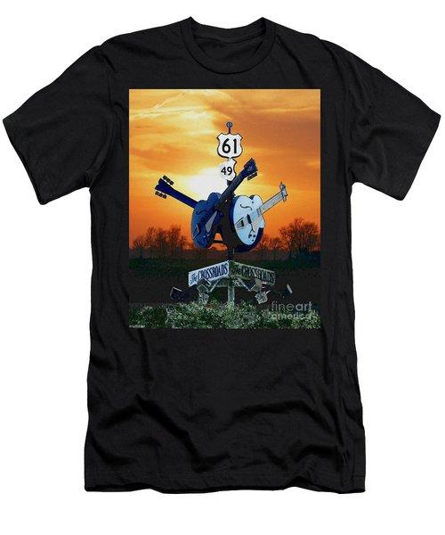 Crossroads Sunset  Blues Highway 61 Men's T-Shirt (Slim Fit) by Lizi Beard-Ward