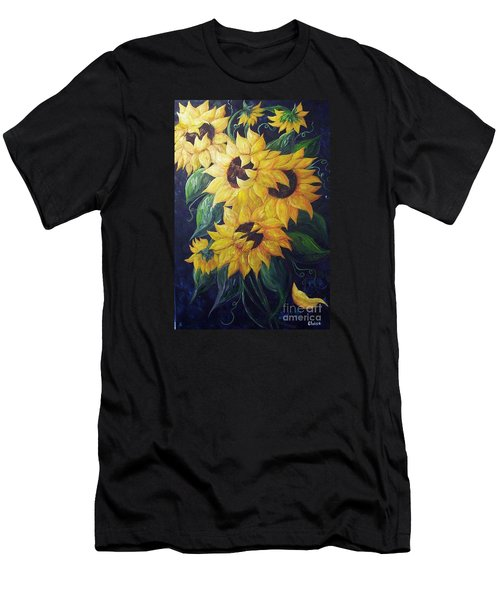 Men's T-Shirt (Slim Fit) featuring the painting Dancing Sunflowers  by Eloise Schneider