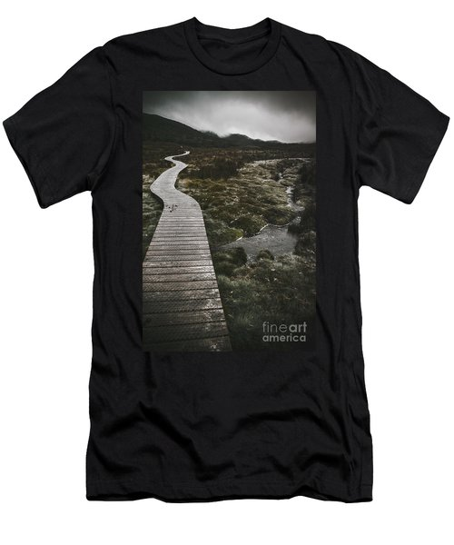 Dark Dramatic Winter Landscape. Path Of Division Men's T-Shirt (Athletic Fit)