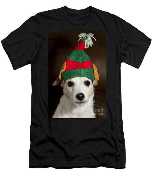 Dog Wearing Elf Ears, Christmas Portrait Men's T-Shirt (Athletic Fit)