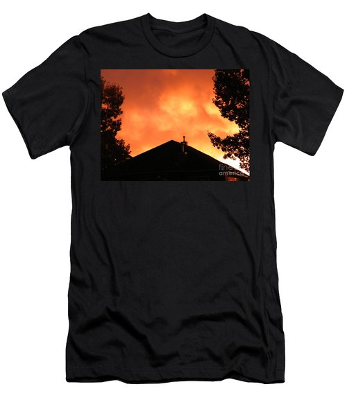 Men's T-Shirt (Athletic Fit) featuring the photograph Fire In The Sky by Ann E Robson