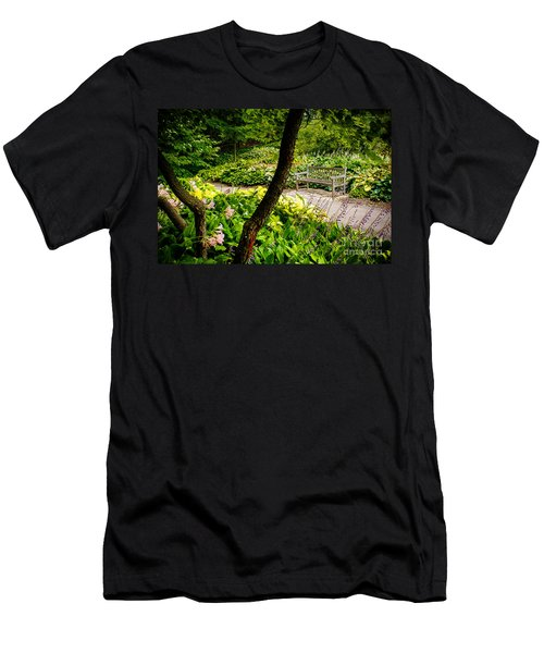 Garden Bench Men's T-Shirt (Slim Fit) by Joe Mamer