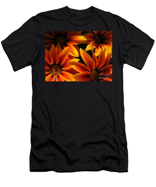 Gazania Named Kiss Orange Flame Men's T-Shirt (Slim Fit) by J McCombie