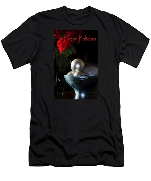 Happy Holidays Greeting Card Men's T-Shirt (Slim Fit) by Julie Palencia