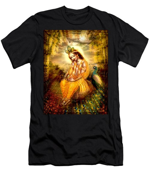 Krishna With The Peacock Men's T-Shirt (Slim Fit) by Ananda Vdovic