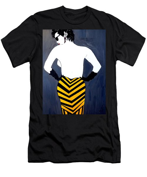 Men's T-Shirt (Slim Fit) featuring the painting Lady In Stripes by Nora Shepley