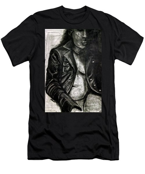 Men's T-Shirt (Athletic Fit) featuring the drawing Leather Jacket by Gabrielle Wilson-Sealy