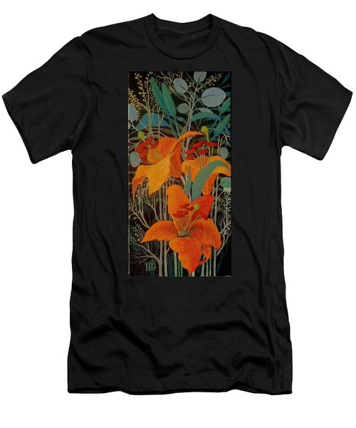 Men's T-Shirt (Slim Fit) featuring the painting Lilies by Marina Gnetetsky