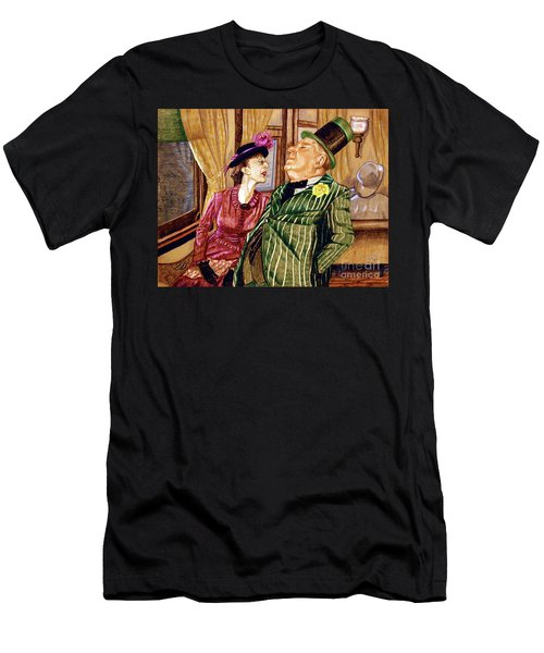 Margaret And W.c. Fields Men's T-Shirt (Slim Fit) by Linda Simon