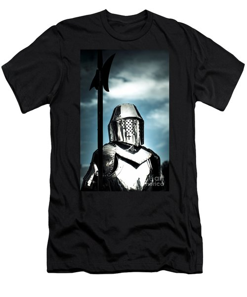 Medieval Knight Holding Weapon Men's T-Shirt (Athletic Fit)