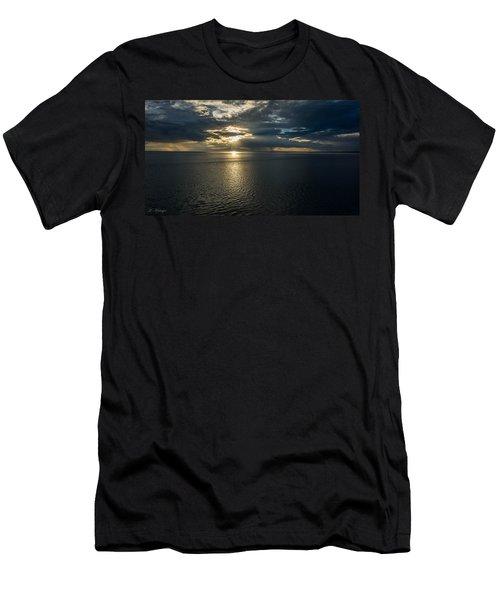 Midnight Sun Over Mount Susitna Men's T-Shirt (Slim Fit) by Andrew Matwijec