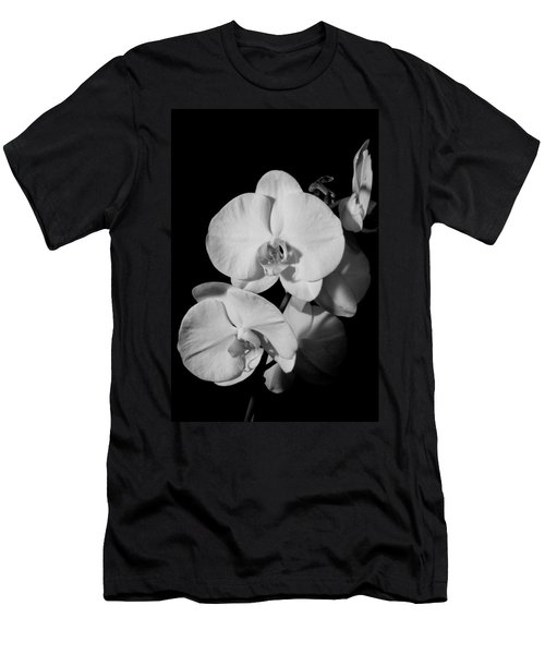 Men's T-Shirt (Slim Fit) featuring the photograph Moth Orchid Bw by Ron White