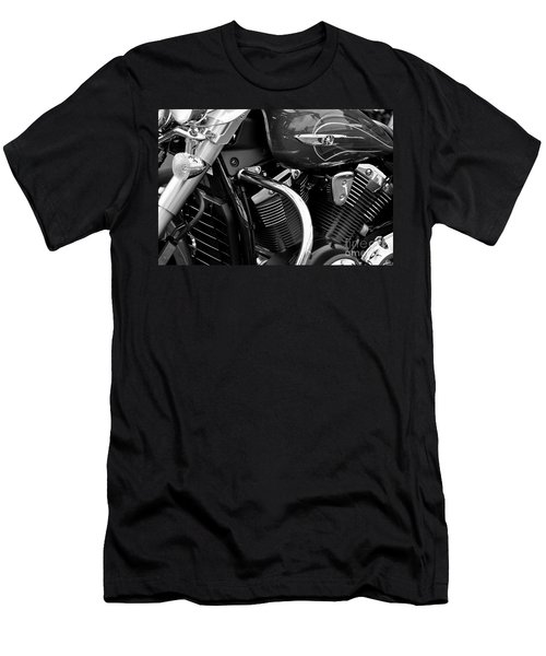 Motorcycle Engine Black And White Men's T-Shirt (Athletic Fit)