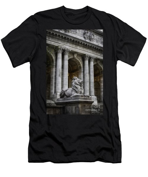 Ny Library Lion Men's T-Shirt (Slim Fit) by Jerry Fornarotto