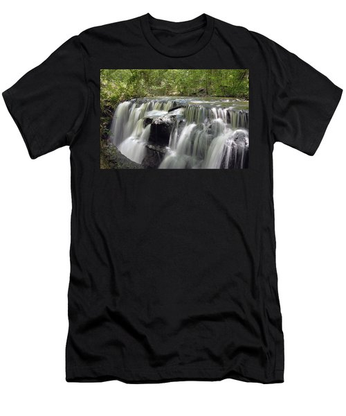 Odom Creek Waterfall Georgia Men's T-Shirt (Slim Fit) by Charles Beeler